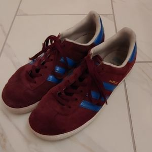 Adidas Women's Gazelle Maroon/Blue Suede Sneakers